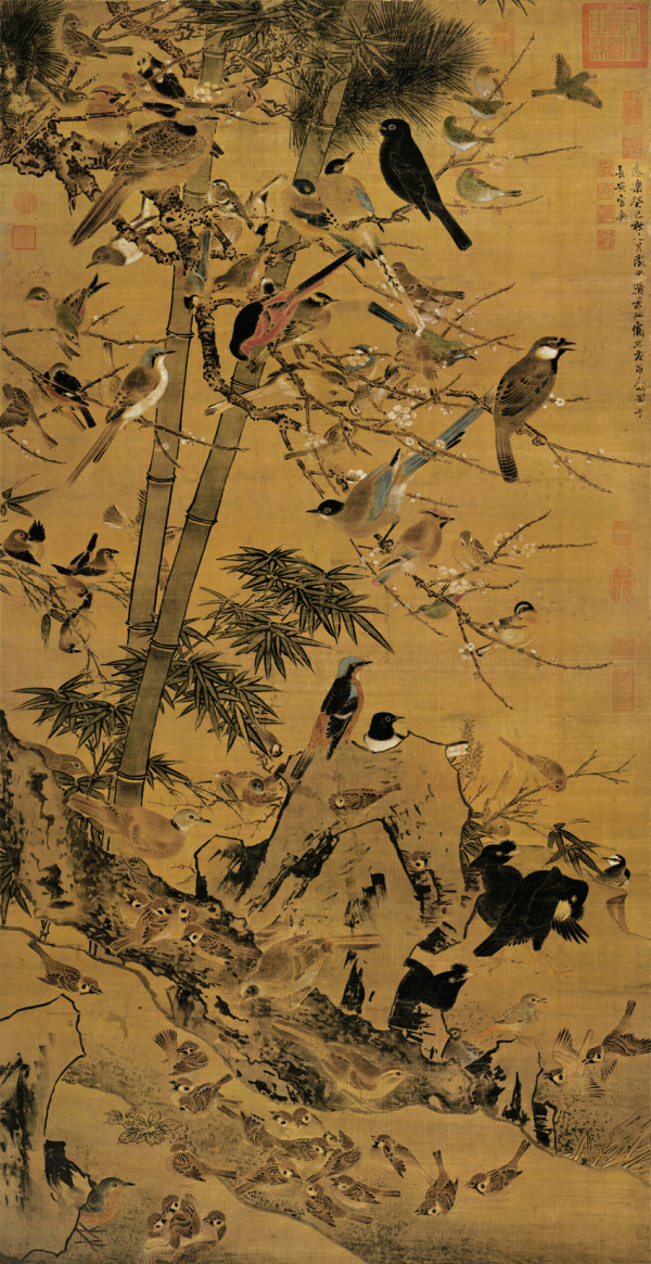 bian-jingzhao_three-friends-and-hundred-birds-600x1165